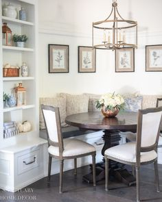 Our breakfast nook got a simple fall refresh with some copper accents on the shelves and a simple floral centerpiece in a copper pumpkin. Fall Fireplace, Family Room Fireplace, Warm Home Decor, Home Decor Kitchen, Kitchen Ideas, Kitchen Design, Interior Styling, Interior Decorating, Autumn Home