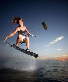 Kiteboarding Kitesurfing Girl Air Jump Sunset Kiting Woman / Lady
