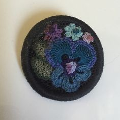 """Vintage Handmade Crochet Pansy Pin This Vintage Handmade Crochet Pansy Pin measures 1-1/2"""" in diameter. In excellent preowned vintage condition. Smoke-free home. Vintage Jewelry Brooches"""