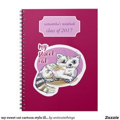 my sweet cat cartoon style illustration custom notebook