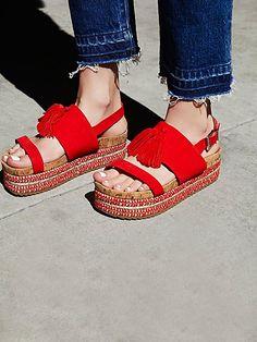 Free People Tassels Flatform Sandal