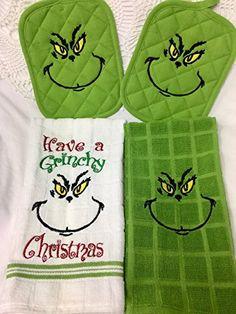 The Grinch Christmas Holiday Kitchen Towel & Potholder Set of 4 Grinch Christmas Decorations, Christmas Themes, Christmas Holidays, Christmas Ornaments, Xmas, Homemade Christmas, Diy Christmas Gifts, Holiday Crafts, Holiday Fun