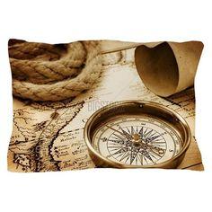 Vintage compass Pillow Case