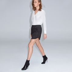 FWSS Shut up suede is a sporty suede mini skirt with a laser-cut hem, elasticated waist, inseam pockets and a double welt pocket on the back. Fall Winter Spring Summer, Suede Mini Skirt, Welt Pocket, Mini Skirts, Sporty, Pockets, Elegant, Shopping, Clothes
