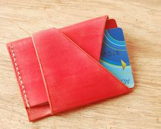 Unique Leather Card Holder - Minimalist hand sewn business credit case money…