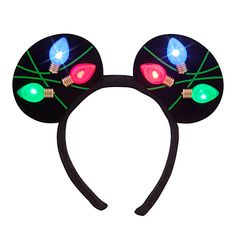 Mickey's happiest ear headband is ablaze with flashing holiday lights. This dizzying Disney light display will brighten the season for one and all! Mickey Mouse Ear Headband - Light Up Holiday BUY ...