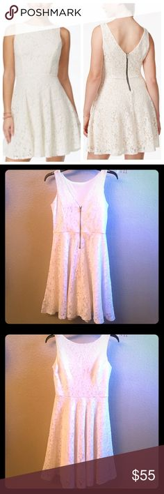 Worn once! Off white/cream lacy dress. Worn once at my nursing pinning ceremony. This dress is fitted in the middle area and flares just a little at the waist for a fun, flirty look. I'm 5'7 and it was a little above the knee for me. Size small, but would fit medium too. I wore a bra with it but you could go without or wear stickies underneath. No damage or stains, etc. worn for maybe 3 hours so it's like new condition. Speechless Dresses Mini