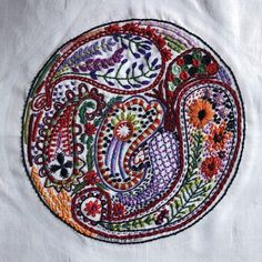 """The Dropcloth """"Paisley"""" sampler, Original, and Red Stripe by Rebecca Ringquist. Worked by Sarah Bradberry in 2017 and 2018."""
