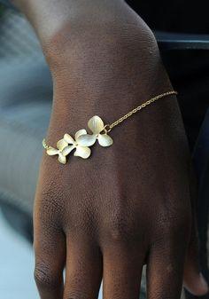 Gold Flower Bracelet - With Gold Flower Pendant