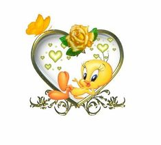 Tweety Bird with a yellow rose...my two favorites! What could be more perfect?