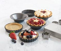 these mini tart and mini pie pans are excellent for individual desserts for family, friends, baby showers, birthday parties...make great treats for little ones too -- they can help prepare the treats  enjoy a mini size especially for them!