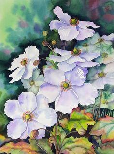 Watercolor Flowers Tutorial, Flower Tutorial, Watercolor Paintings, Watercolour, Art Floral, Fabric Postcards, Happy Art, Illustrations, Pencil Drawings