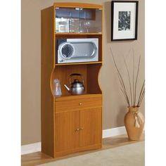 Modern Microwave Cart With Wine Storage, Storage Drawer
