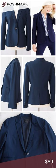 """J.Crew Tall Campbell Blazer Italian Stretch Wool Excellent, pre-owned condition. Like new, no flaws. Plenty of life remaining! Size: 10T (Tall). Color: Navy. Retail Price: $248.  •Italian wool with a hint of stretch. •96% wool, 4% elastane •Notch collar •Single welt chest pocket, hip and interior double welt pockets •Back vent •Lined •Dry clean •Import Size and Fit: •Tailored for a fitted look •Body length: 26"""" •Sleeve length: 25"""" •Hits at hip J. Crew Jackets…"""