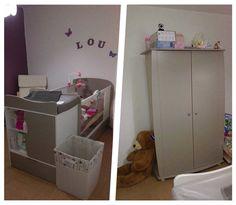 Le lit bébé évolutif Jooly lin et l'armoire Rêve lin de Laura   #Chambre #france #bio #bois #lit #bébé #évolutif