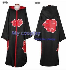 Anime Naruto Cosplay - Naruto costumes Akatsuki Cloak With Hat Men Cosplay Costume Freeshipping