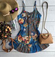 2016 nova Vestidos azul moda feminina Desigual mangas em torno do pescoço Florals imprimir vestido 2016 Saias Femininas roupas de verão