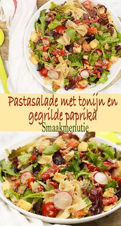 Pastasalade met tonijn en gegrilde paprika #recept #pastasalade #pasta #paprika #lunch