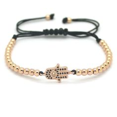 18K Gold Plated Beads Hamsa Hand Unisex Bracelet [4 Variations] - Bracelets Ring to Perfection
