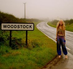 Hippie chick on her way to Woodstock festival in 1969