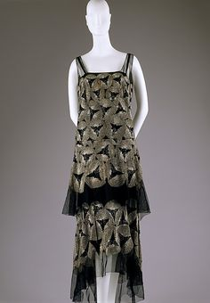 Dress  Date: ca. 1928 Culture: American or European Medium: cotton, glass