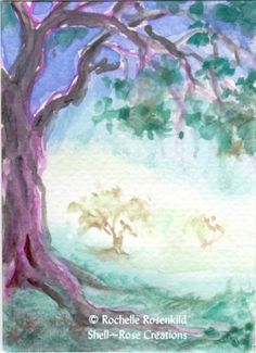 Oak Tree Mist Valley Watercolor ACEO Original Painting Art Card by Shellrose | eBay