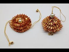 Diy How to make Easy Gota (golden lace) Rakhi and Lumba at home - YouTube