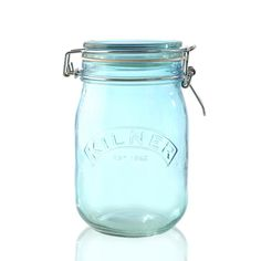 <strong>Kilner Clip Top Jar 1ltr - Blue -</strong> The Kilner Blue Round Clip Top 1 litre Glass Jar has the Kilner brand embossed on the front and is finished with a white rubber seal. The jars are perfect for gifting and storing dry food stuff.