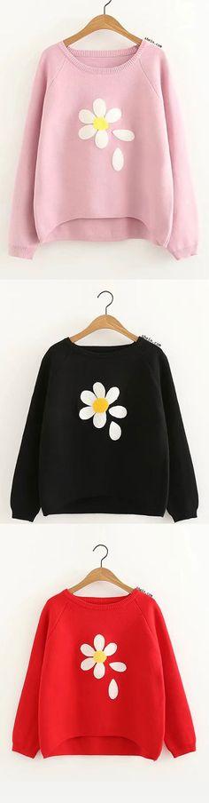 Raglan Sleeve Dip Hem Flower Sweater
