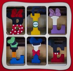 Disney wooden letters Mickey Minnie Pluto Goofy Donald Duck Daisy