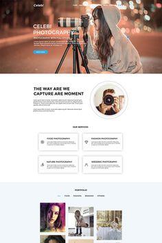 Celebi - Professional Photography Website PSD Template Photography Services, Photography Website, Ad Photography, Portfolio Web Design, Portfolio Website, Fotografie Website, Photoshop Tutorial, Photoshop Actions, Website Design Layout