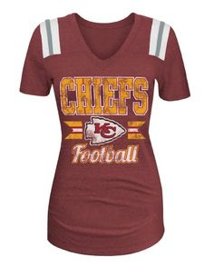 NFL Kansas City Chiefs Women s Tri-Blend Short Sleeve V-Neck Shirt 7fe250d82