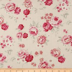 True Vintage Tossed Floral Pink  Item Number: 228938.  Great quilting materials.