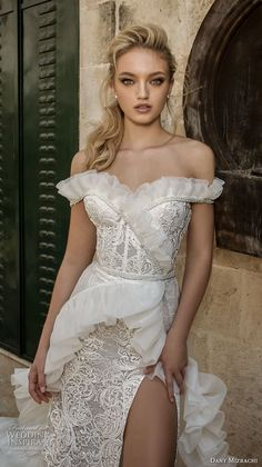 dany mizrachi spring 2018 bridal off the shoulder sweetheart neckline full embellishment high slit sheath wedding dress chapel train (11) zv -- Dany Mizrachi Spring 2018 Wedding Dresses