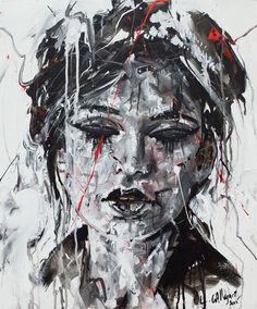 DARK Acrylique & fusain sur toile 60x50cm 2015 http://www.lucile.callegari.fr