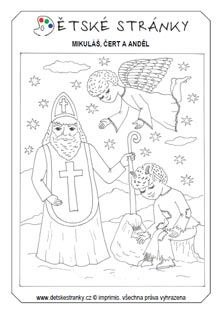 Nápady do školky: Mikuláš, čert a anděl Christmas Colors, Christmas And New Year, Christmas Time, Angel And Devil, Coloring Pages, Santa, Mandala, Printables, Autism