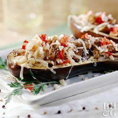 stuffed eggplant with rice mushrooms and tomatoes