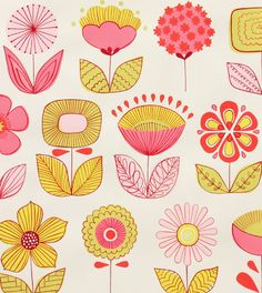 Alexander Henry Fabric Urban Garden Natural/Pink By the Yard. $8.50, via Etsy.