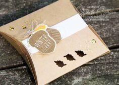 Quadratische Pillow Box Stampin´ Up! Herbstgrüße und Elementstanze Eichel