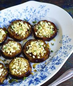 Roasted Eggplant With Warmed Feta And Honey Recipe by Marie Simmons. Author of Taste of Honey.