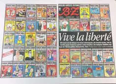 Newspapers React To Charlie Hebdo Attack With Show Of Solidarity On Front Pages. newspaper in Berlin covered its front and back pages with Charlie Hebdo images: The World Newspaper, Newspaper Front Pages, Satire, World Pay, Charlie Hebdo, Digital News, Buzzfeed News, France, Journaling