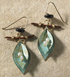 Verdigris leaf shape with pearls