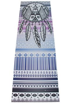 Starcatcher Yoga Printed Mat © This groovy hipster yoga mat is inspired by the tribal prints of the Navajo indians. A stylish ombre of blues and purples and a stunning dreamcatcher image. This ones a must have !