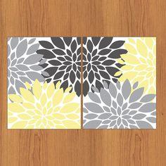 Fleur floral fond éclaté jaune ensemble par PaisleyPeacockPrints