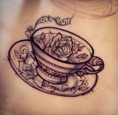 Roses and tea cup tattoo