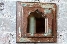 Small Mirror Reclaimed Vintage Indian Door Panel Wall Hanging Art Distressed Aqua Blue Wood Mirror Moroccan Decor Turkish