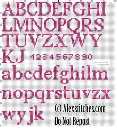 Hello Kitty Birth record free cross stitch pattern - free cross stitch patterns by Alex Cross Stitch Letter Patterns, Cross Stitch Letters, Cross Stitch Charts, Cross Stitch Designs, Stitch Patterns, Cross Stitch Font, Cross Stitching, Cross Stitch Embroidery, Embroidery Patterns