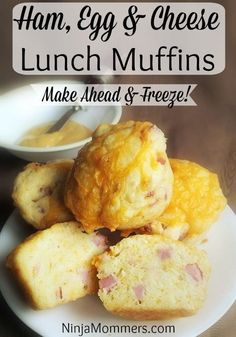 Ham Egg and Cheese Muffins Recipe! Great as a make ahead lunch for school or work. Delicious easy a&; Ham Egg and Cheese Muffins Recipe! Great as a make ahead lunch for school or work. Delicious easy a&; Muffin Recipes, Baby Food Recipes, Cooking Recipes, Toddler Recipes, Toddler Meals, Baby Meals, Healthy Recipes, Toddler Food, Drink Recipes