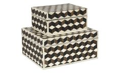 """Marquetry Bone Boxes: feature the classic, yet of-the-moment tumbling blocks design. Bone tiles are intricately hand applied to a wood base to create the 3-D illusion. The hinged lid reveals a black interior.    •small: 9""""W x 7.25""""D x 4.5""""H  •large: 12.5""""W x 10.25""""D x 6""""H  •bone tiles applied to wood base  •tumbling blocks design  •hinged lid  •black interior; small $475; large $550"""