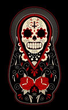 day of the dead russian dolls  #Dia De Los Muertos #Day of the Dead